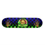 Milton skull green fire Skatersollie skateboard.