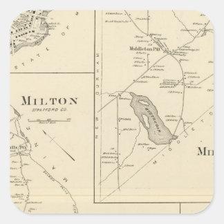 Milton, Strafford Co Pegatina Cuadrada