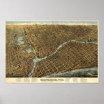 Milwaukee birdseye map  - 1872 (Bailey) BigMapBlog Poster