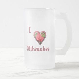 Milwaukee -- con el rosa rojo taza de cristal