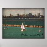 Milwaukee, horizonte de los WI Póster
