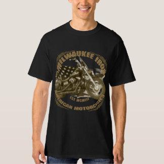 Milwaukee Iron of biker US flag street bob motorcy T-Shirt