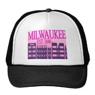 """Milwaukee"" Magenta and Pink Logo Trucker Hat"