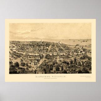 Milwaukee, mapa panorámico de los WI - 1854 Póster