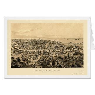 Milwaukee, mapa panorámico de los WI - 1854 Tarjeta De Felicitación