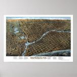 Milwaukee, mapa panorámico de los WI - 1872 Poster