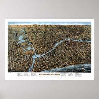 Milwaukee, mapa panorámico de los WI - 1872 Póster