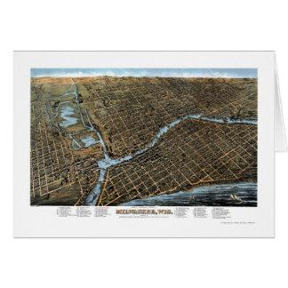 Milwaukee, mapa panorámico de los WI - 1872 Tarjeta De Felicitación