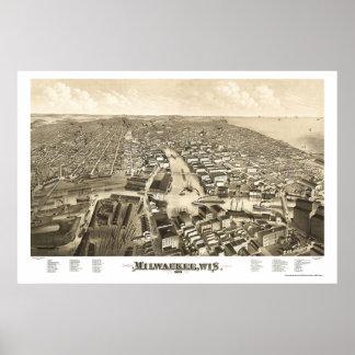 Milwaukee, mapa panorámico de los WI - 1879 Póster