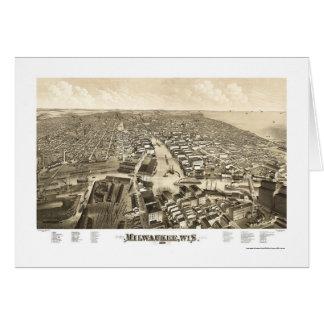 Milwaukee, mapa panorámico de los WI - 1879 Tarjeta De Felicitación