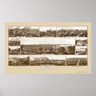 Milwaukee, mapa panorámico de los WI - 1882 Póster