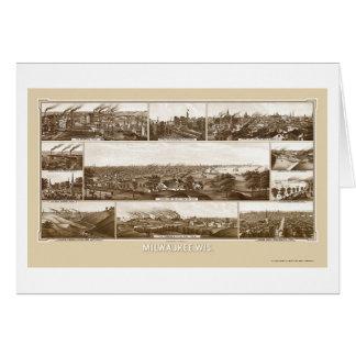 Milwaukee, mapa panorámico de los WI - 1882 Tarjeta De Felicitación