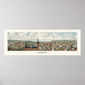 Milwaukee, mapa panorámico de los WI - 1898 Póster