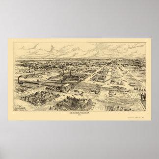 Milwaukee, mapa panorámico de los WI - 1906 Póster