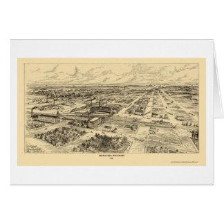 Milwaukee, mapa panorámico de los WI - 1906 Tarjeta De Felicitación