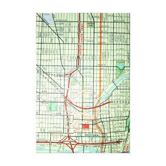 Milwaukee, MI Vintage Map Print Canvas Prints