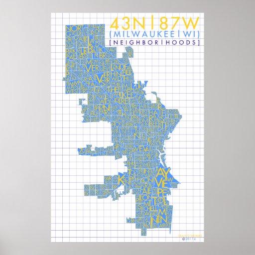 Milwaukee Neighborhood Typography Map Poster  Zazzle