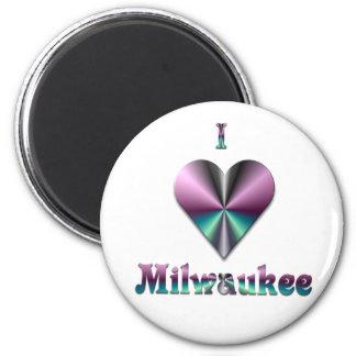 Milwaukee -- Purple & Turquoise 2 Inch Round Magnet