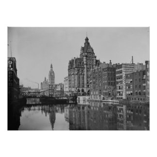 Milwaukee River and Dowtown Poster
