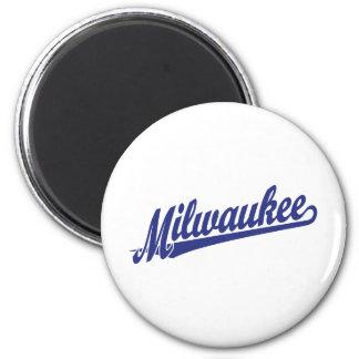 Milwaukee script logo in blue 2 inch round magnet