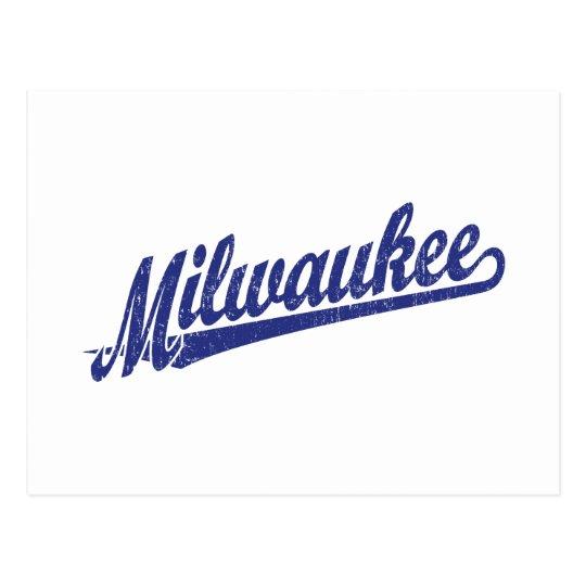 Milwaukee script logo in blue distressed postcard
