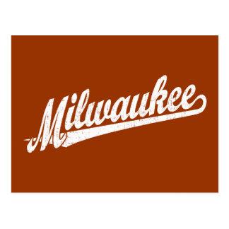 Milwaukee script logo in white distressed postcard