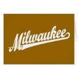 Milwaukee script logo in white greeting card