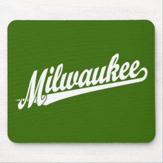 Milwaukee script logo in white mouse pad