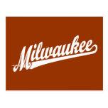 Milwaukee script logo in white postcard