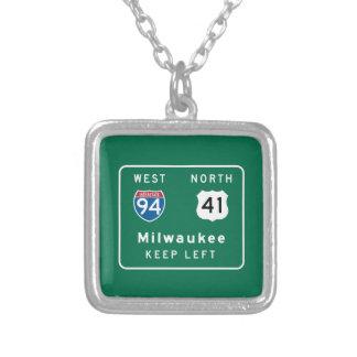 Milwaukee, señal de tráfico de los WI Pendientes Personalizados