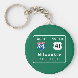 Milwaukee, señal de tráfico de los WI Llavero Redondo Tipo Pin