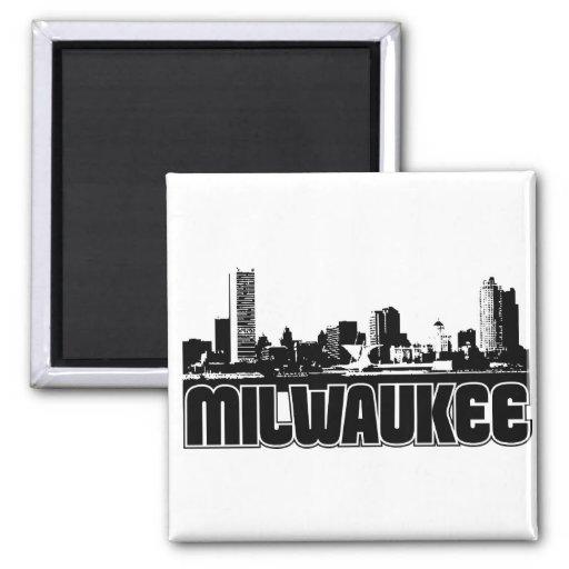 Milwaukee Skyline 2 Inch Square Magnet