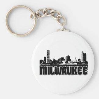 Milwaukee Skyline Basic Round Button Keychain