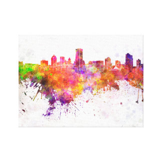 Milwaukee skyline in watercolor background canvas print