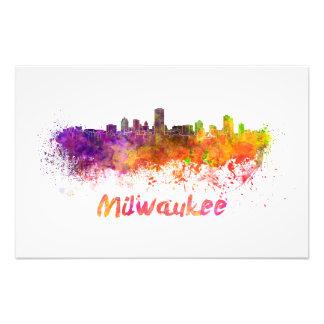 Milwaukee skyline in watercolor fotografías