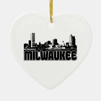 Milwaukee Skyline Double-Sided Heart Ceramic Christmas Ornament