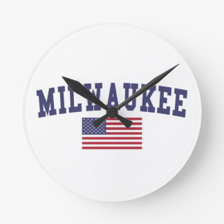 Milwaukee US Flag Round Clock