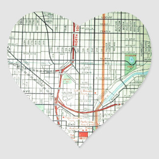 MILWAUKEE Vintage Map Heart Sticker