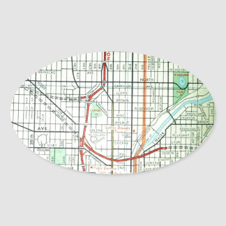 MILWAUKEE Vintage Map Oval Sticker