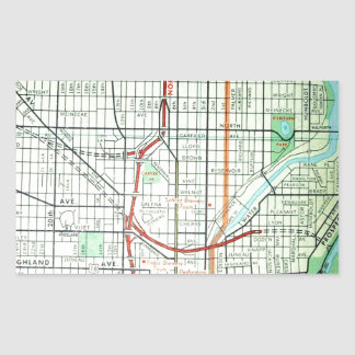 MILWAUKEE Vintage Map Rectangular Sticker