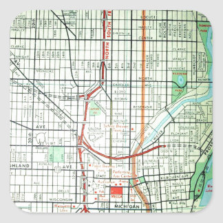 MILWAUKEE Vintage Map Square Sticker