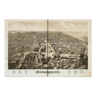 Milwaukee WI 1879 Antique Panoramic Map Poster