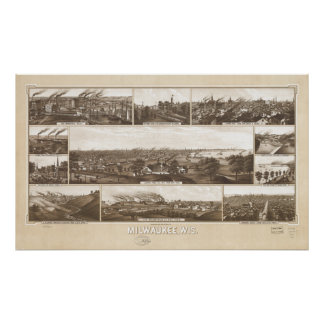 Milwaukee WI 1882 Antique Panoramic Map Posters