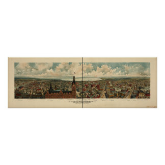 Milwaukee WI 1898 Antique Panoramic Map Poster