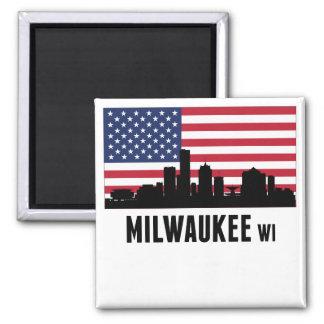 Milwaukee WI American Flag Magnet