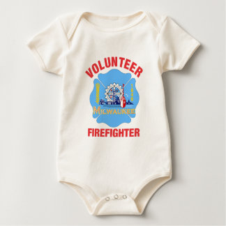 Milwaukee, WI Flag Volunteer Firefighter Cross Baby Bodysuit