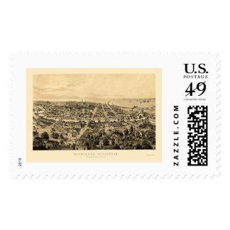 Milwaukee, WI Panoramic Map - 1854 Stamp