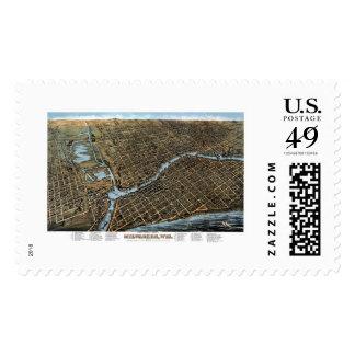 Milwaukee, WI Panoramic Map - 1872 Postage Stamp