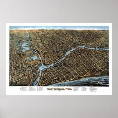 Milwaukee, WI Panoramic Map - 1872 Print