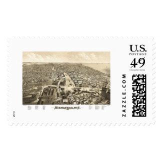 Milwaukee, WI Panoramic Map - 1879 Postage Stamp